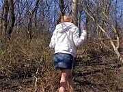 Horny teenager enjoys outdoor masturbating