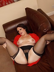 Big booty wife ready for a fucking in stockings, suspenders and sheer red robe