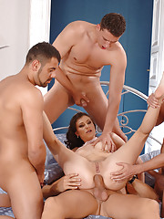 Starved For Cock Louise Black Takes On Four Beefy Ones In All Her Holes