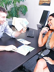 Sophia is a milf who has decided to treat herself to a nice vacation. Jordan tries to interest her in some popular vacation packages. Sophia has heard that Canadian men have huge dicks so she inquires about Canada. Being from Canada Jordan opens his pants