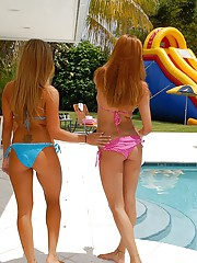 2 amazing bikini latinas slide down a backyard waterslide then get pounded hard in this hot amateur party pic set