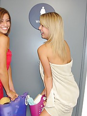 Check out 3 hot teens play and masterbate in the shower in these dorm room fuck pics