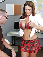 Mackenzze and Charles are doing some extra work on the computers room at school. While Mackenzee is trying to concentrate, Charles is taking pictures of her tits and uploading them over the web. She catches him and realizes is not so bad, and decides to g