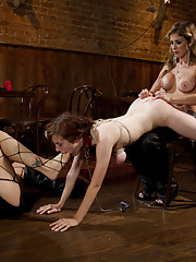 All natural big titted 19 year old is used, punished and fucked till she squirts for the first time by two sadistic lesbians!