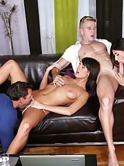 Diana and her hot ass girl brunette share some cocks in this amazing full on group sex cumfaced and anal fuck adventure