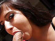 Brunette cunt chokes when the cock hits her throat
