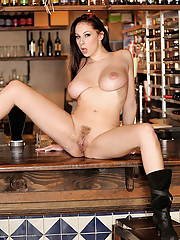 Amaing gianna micheals gets her sweet box rammed on the bar then take a load to the face in these hot big tits fucking pics