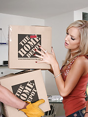 Lindy Lane and Taylor Tilden are reminiscing about the house they�re moving out of when they notice the cute moving guy. The girls don�t waste any time making him drop the boxes he�s carrying and having him pound theirs!!