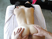 Stupid bitch gets her twat relaxed by the masseuse's cock