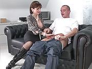 Shiny knee boots milf gives handjob