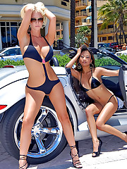 Stacked hot ass big tits molly and kina kai share their hot wet pussies in the car show park in these hot lesbo licking pics and video