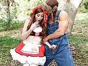Nikki Rhodes is little red riding hood with a big bad cock hunting her