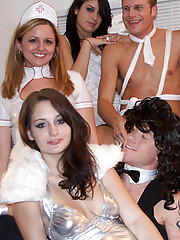 Watch these hot college girls at a crazy halloween dorm room party get crazy and get fuckt who knows you might even know them
