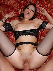 Smoking hot petite brunette gets drilled up her lingerie pussy in these waitress fucking pics