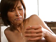 Akari Asahina jizzed upon by a cock and made to swallow it