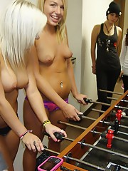 Watch these hot horny college babes play foozball in their undies then get fucked hard in these hot wild real dorm room party footage