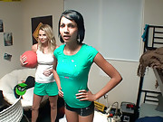 Watch 3 super hot college booty short teens fuck around playing dodge ball then get fucked in these hot real dorm room party vids