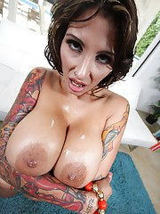 Heavy ink hottie with Ginormous jugs also fucks like a real whore