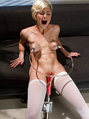 Innocent blond,Chloe Camilla,made to whisper her pleas to cum as the machines rail her ass& pussy even after she