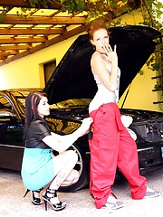 Car cleaning lesbian girl fondles her titties