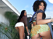 2 super fine ass ebony mini skirt babes step off the plane to fuck and suck in these hot 3some fuck vids