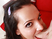 Brunette hoe struggles to fit a cock down her throat