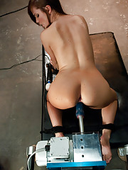 Lily Carter stretches her arse for machine fucking, squirts all over The Guvnor