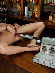 18yr old newbie SQUIRTS a pint of cum in the kink bar from two steel fucking beasts - the Intruder MK II and The Shock Spot. She squirts to tilt!