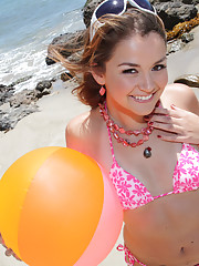 Hot teen beach bunny Allie loves beaches, blowjobs, boning and cum!
