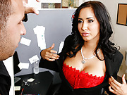 Busty slut gets pounded in her office