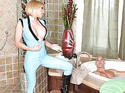 Busty Chick getting her groove on a huge cock