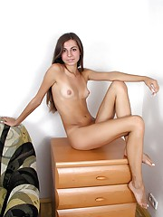 Sexy untainted naked sweetheart on the couch
