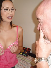 Dumb young slut plays ping pong with granddaddys balls