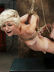 Chloe is into her 3rd scene from the November Live show.  A brutal Hogtied suspension while making her cum.  All tying is shown on screen.