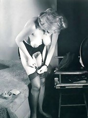 Very hot girls wearing stockings in fifties