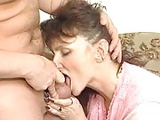 Amateur granny sucks cock and balls