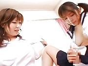 Rio Hamasaki fingers her hairy cunt and teaches her friend