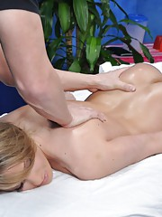 hot 18 year old blonde gets fucked hard from behind by her massage therapist