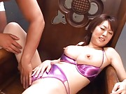 Nana Aoyama puffy nipples are exposed as she is fingered
