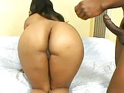 Fat stacked black babe oiled up