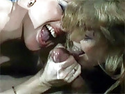 Lucky retro guy fucks two hairy chicks hard