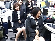 Japanese AV Model masturbates as part of the group at office