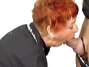 Ginger granny loves sucking cock