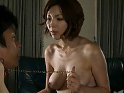 Mai Hanano rides a mans cock deeply and shows off her breasts
