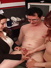 When their boss called them to tell them that he couldn't choose which of the assistants to take to Europe with him, Janessa and Megan decided to make the process a little easier for him by stripping him down and having a contest to see who could make