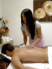 Hot ass fucking big tits asian fucked hard on the massage table by client hot pics