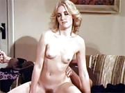 Sexy retro blonde enjoys sucking stiff penis