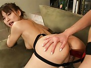 Mizuki Hana slides a strap on dildo deep into her tight asshole