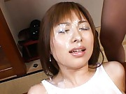 Kokomi Naruse being facialised by many cocks after vibrator used