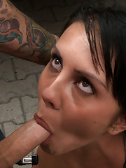 European hottie is paraded naked and bound through the streets of Europe, fucked, and covered in cum
